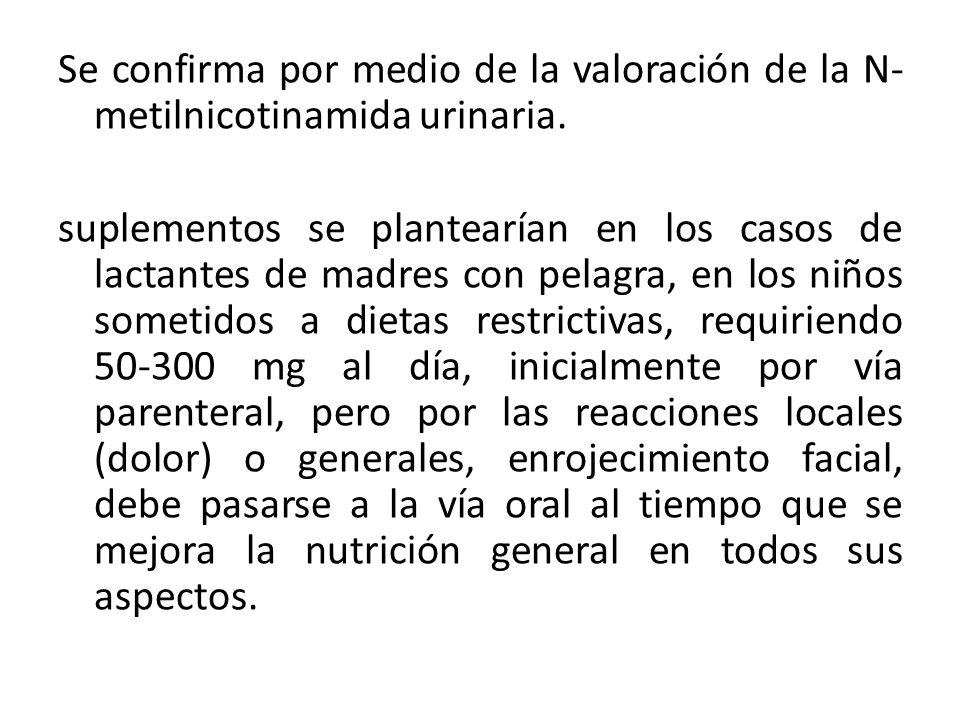 Se confirma por medio de la valoración de la N-metilnicotinamida urinaria.