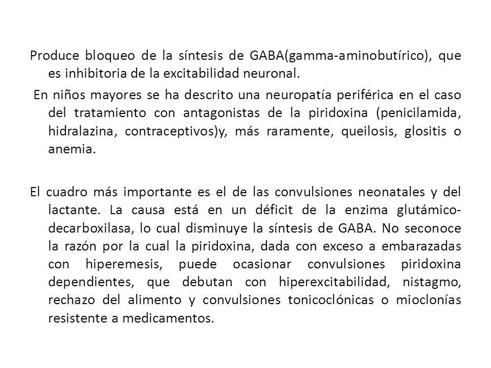 Produce bloqueo de la síntesis de GABA(gamma-aminobutírico), que es inhibitoria de la excitabilidad neuronal.