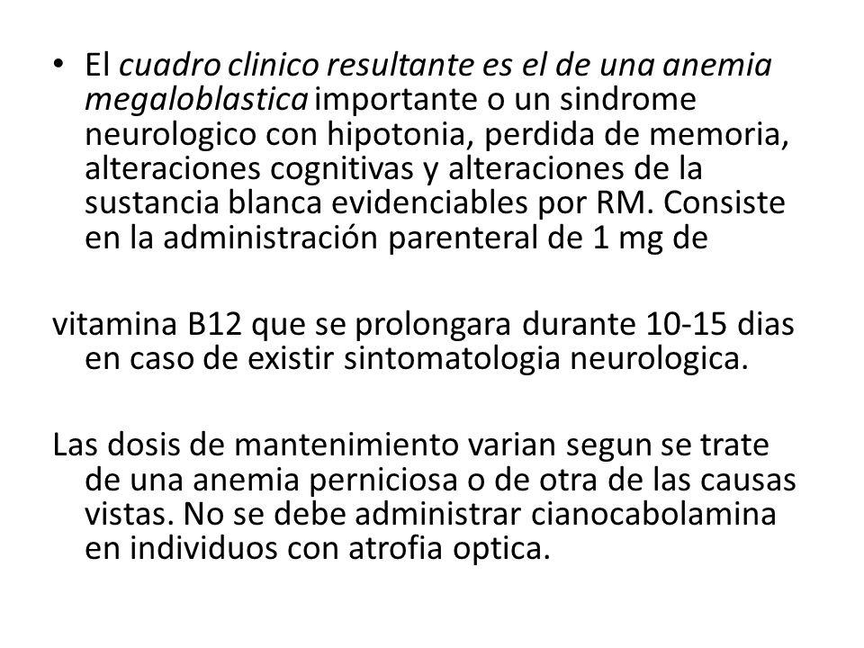 El cuadro clinico resultante es el de una anemia megaloblastica importante o un sindrome neurologico con hipotonia, perdida de memoria, alteraciones cognitivas y alteraciones de la sustancia blanca evidenciables por RM. Consiste en la administración parenteral de 1 mg de