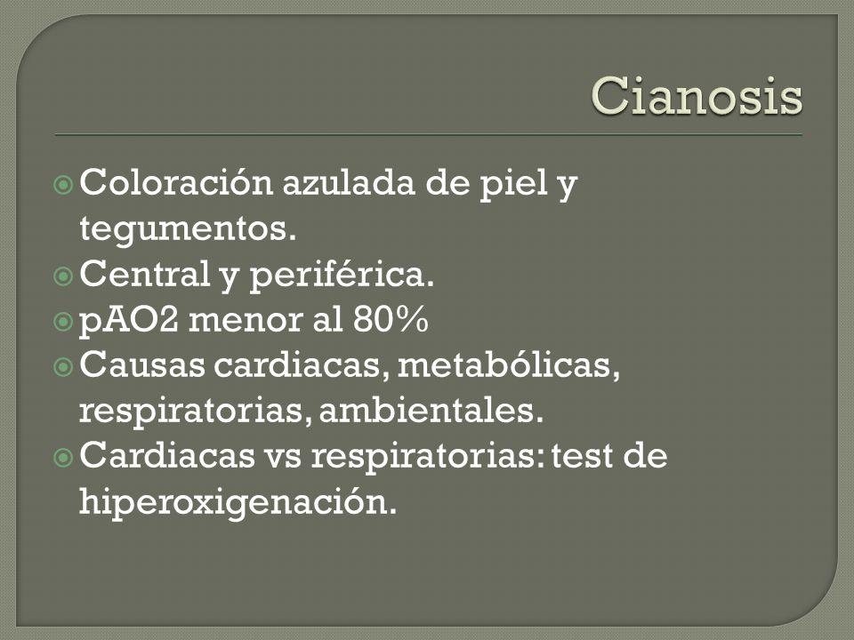 Cianosis Coloración azulada de piel y tegumentos.