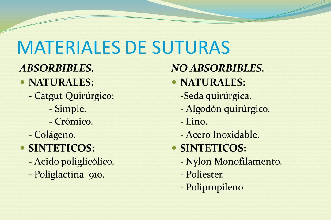 MATERIALES DE SUTURAS ABSORBIBLES. NATURALES: SINTETICOS: