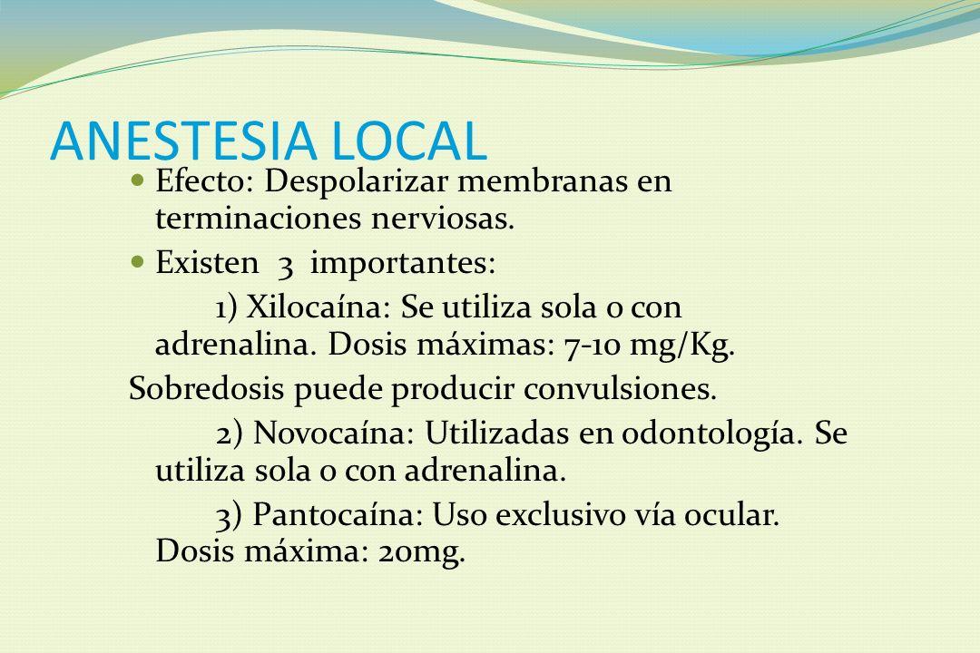 ANESTESIA LOCAL Efecto: Despolarizar membranas en terminaciones nerviosas. Existen 3 importantes:
