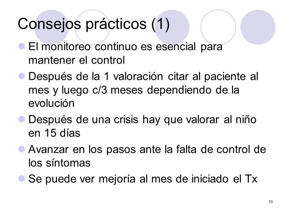 Consejos prácticos (1) El monitoreo continuo es esencial para mantener el control.