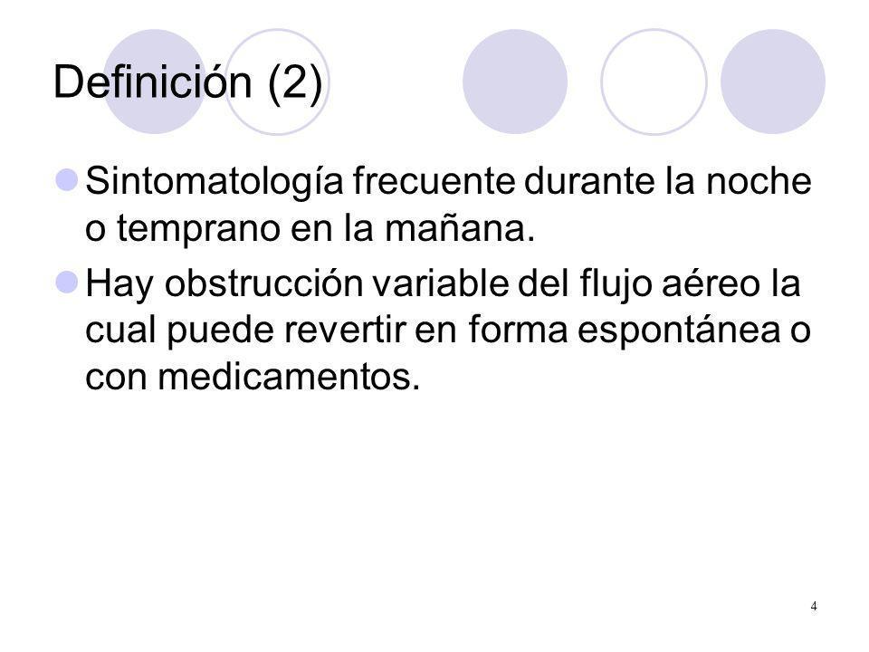 Definición (2) Sintomatología frecuente durante la noche o temprano en la mañana.
