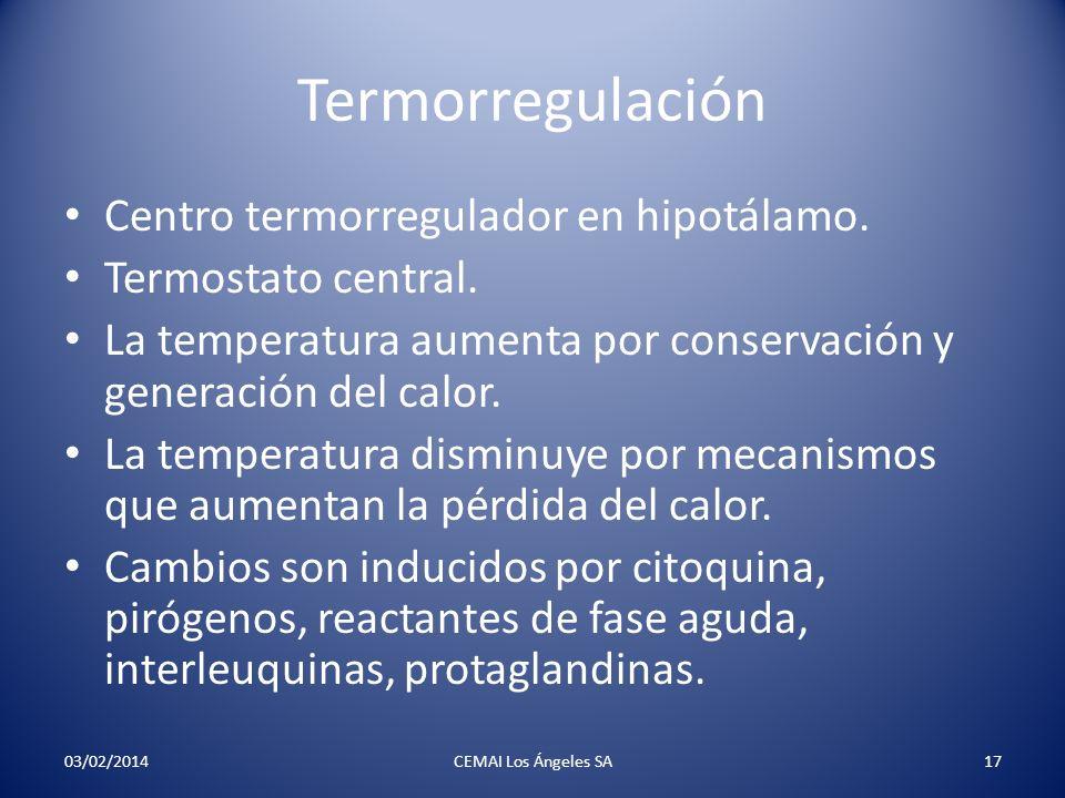 Termorregulación Centro termorregulador en hipotálamo.