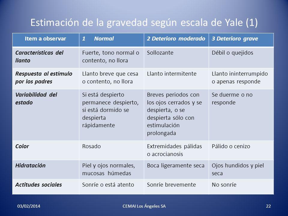 Estimación de la gravedad según escala de Yale (1)
