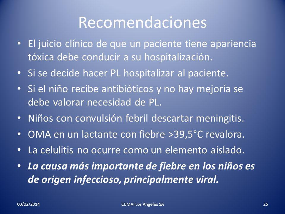Recomendaciones El juicio clínico de que un paciente tiene apariencia tóxica debe conducir a su hospitalización.