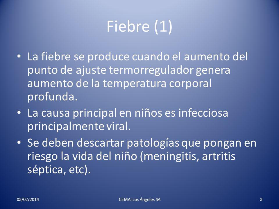 Fiebre (1) La fiebre se produce cuando el aumento del punto de ajuste termorregulador genera aumento de la temperatura corporal profunda.