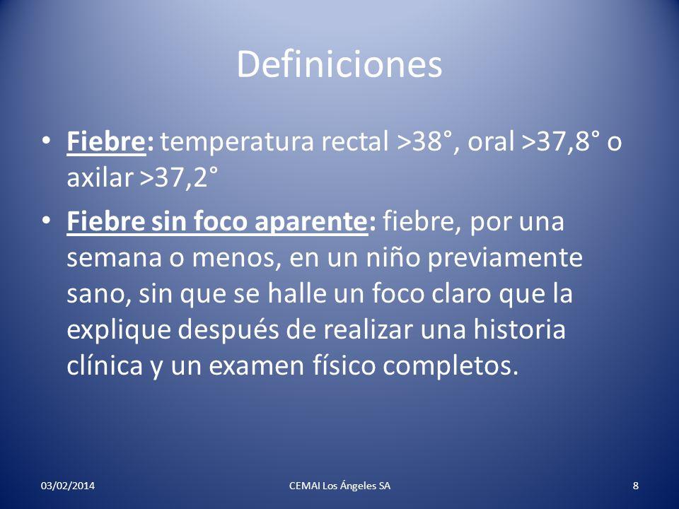 Definiciones Fiebre: temperatura rectal >38°, oral >37,8° o axilar >37,2°