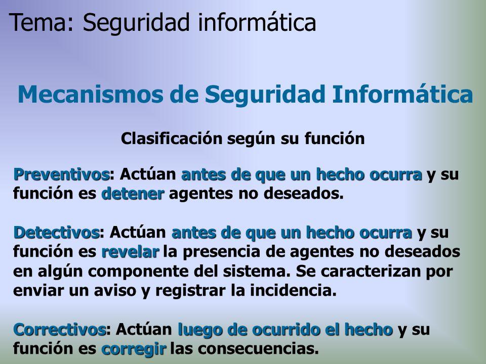 Mecanismos de Seguridad Informática Clasificación según su función