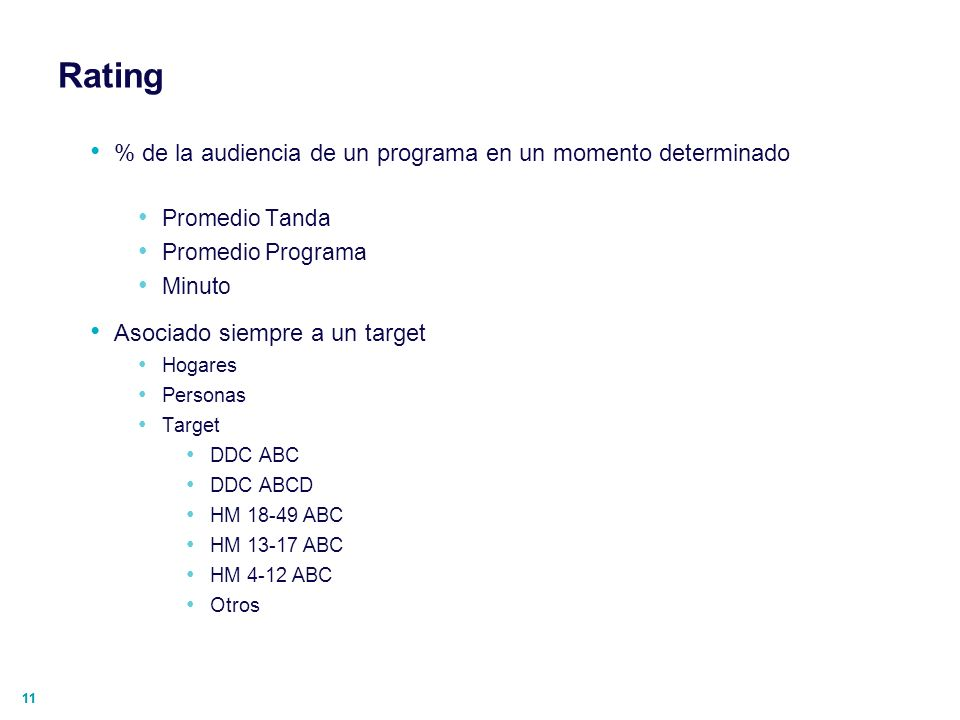 Rating % de la audiencia de un programa en un momento determinado