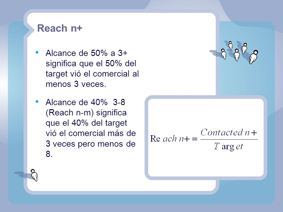 Reach n+Alcance de 50% a 3+ significa que el 50% del target vió el comercial al menos 3 veces.