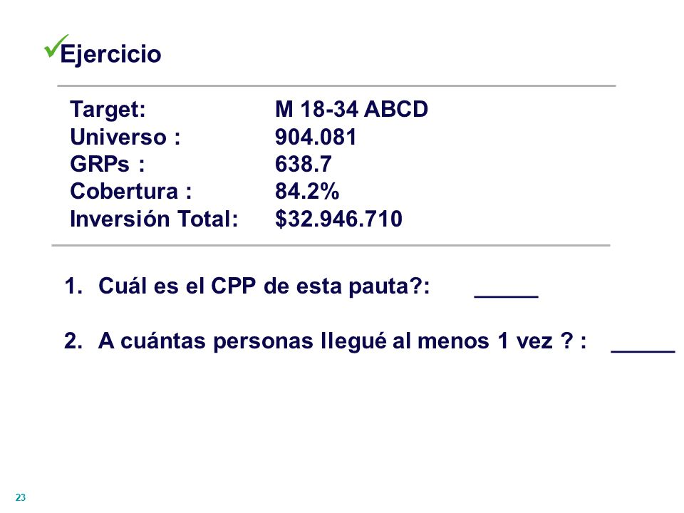 Ejercicio Target: M 18-34 ABCD Universo : 904.081 GRPs : 638.7