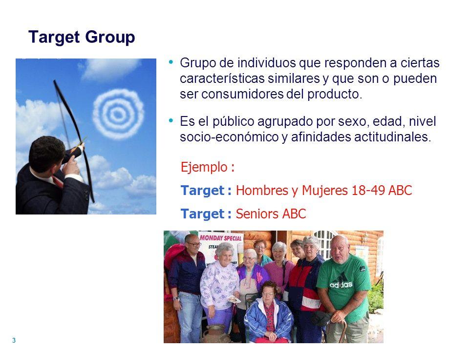 Target Group Grupo de individuos que responden a ciertas características similares y que son o pueden ser consumidores del producto.