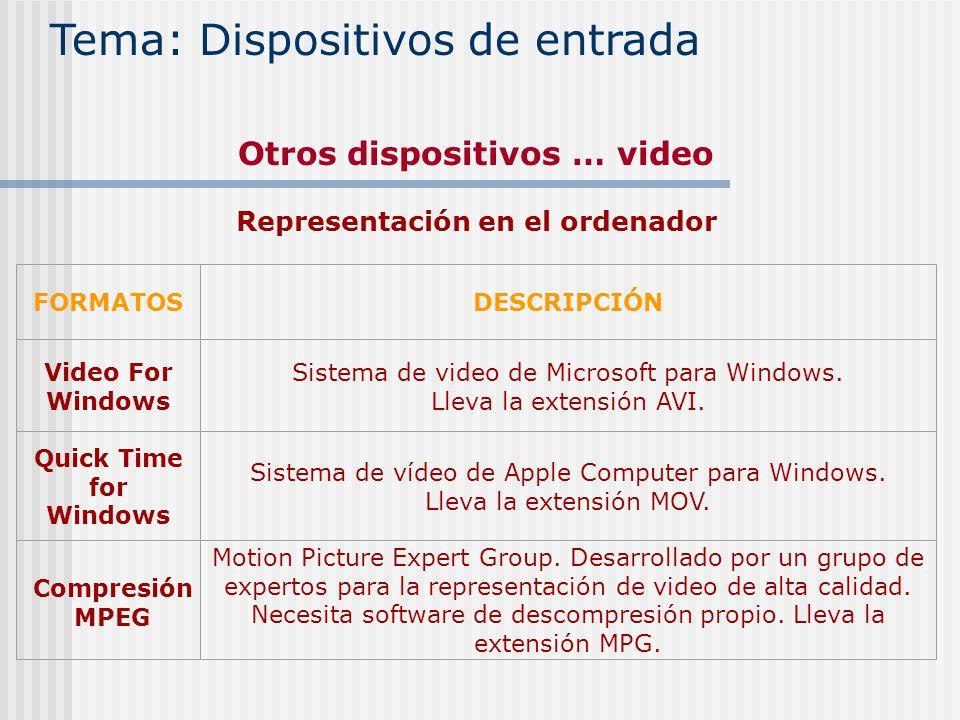 Otros dispositivos … video Representación en el ordenador