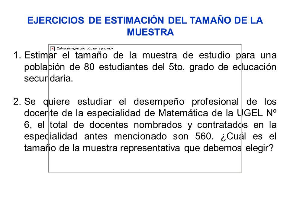 EJERCICIOS DE ESTIMACIÓN DEL TAMAÑO DE LA MUESTRA