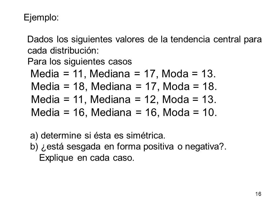 Ejemplo: Dados los siguientes valores de la tendencia central para cada distribución: Para los siguientes casos.