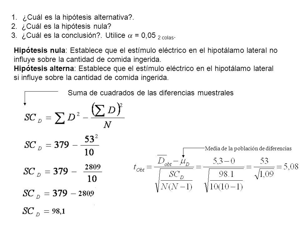 ¿Cuál es la hipótesis alternativa . 2. ¿Cuál es la hipótesis nula