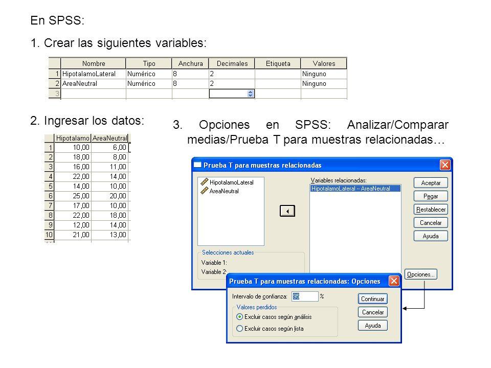 En SPSS: 1. Crear las siguientes variables: 2. Ingresar los datos: