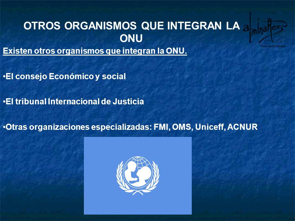 OTROS ORGANISMOS QUE INTEGRAN LA ONU