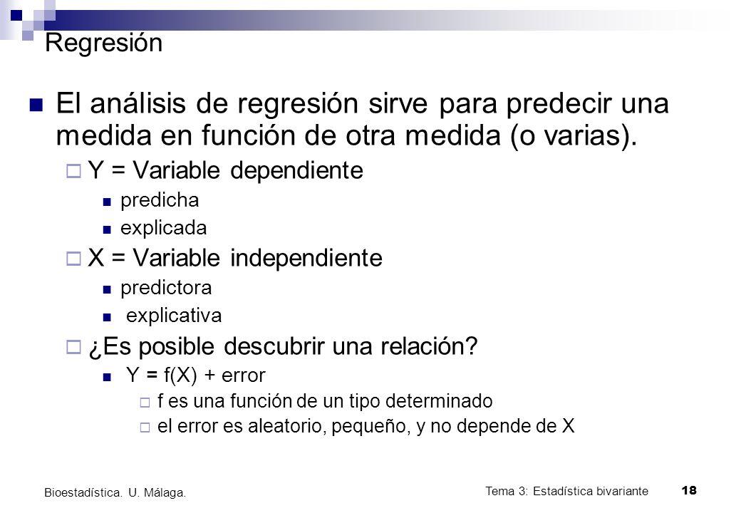 Regresión El análisis de regresión sirve para predecir una medida en función de otra medida (o varias).
