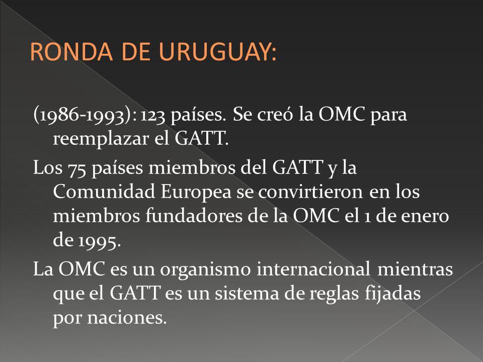 RONDA DE URUGUAY:(1986-1993): 123 países. Se creó la OMC para reemplazar el GATT.