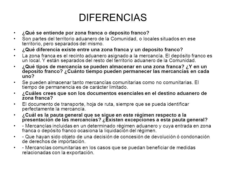 DIFERENCIAS ¿Qué se entiende por zona franca o deposito franco