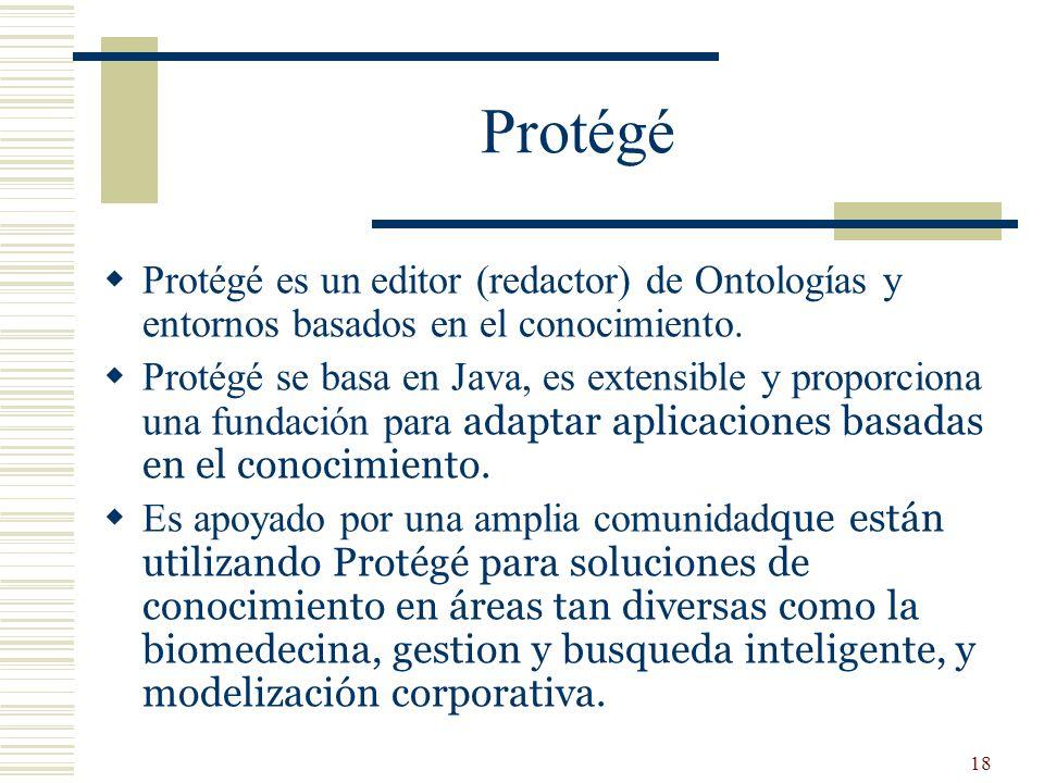 Protégé Protégé es un editor (redactor) de Ontologías y entornos basados en el conocimiento.