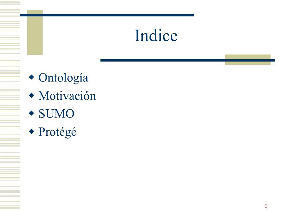 Indice Ontología Motivación SUMO Protégé