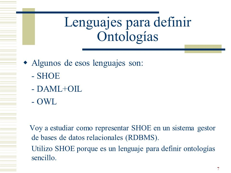 Lenguajes para definir Ontologías