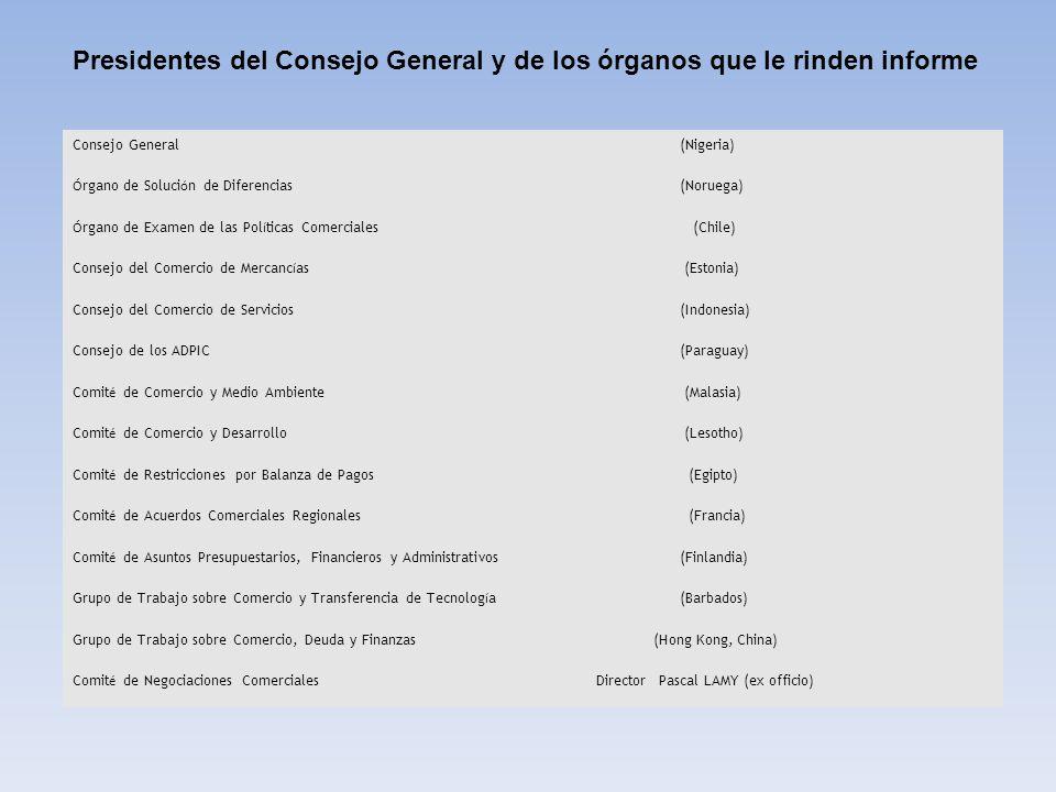 Presidentes del Consejo General y de los órganos que le rinden informe