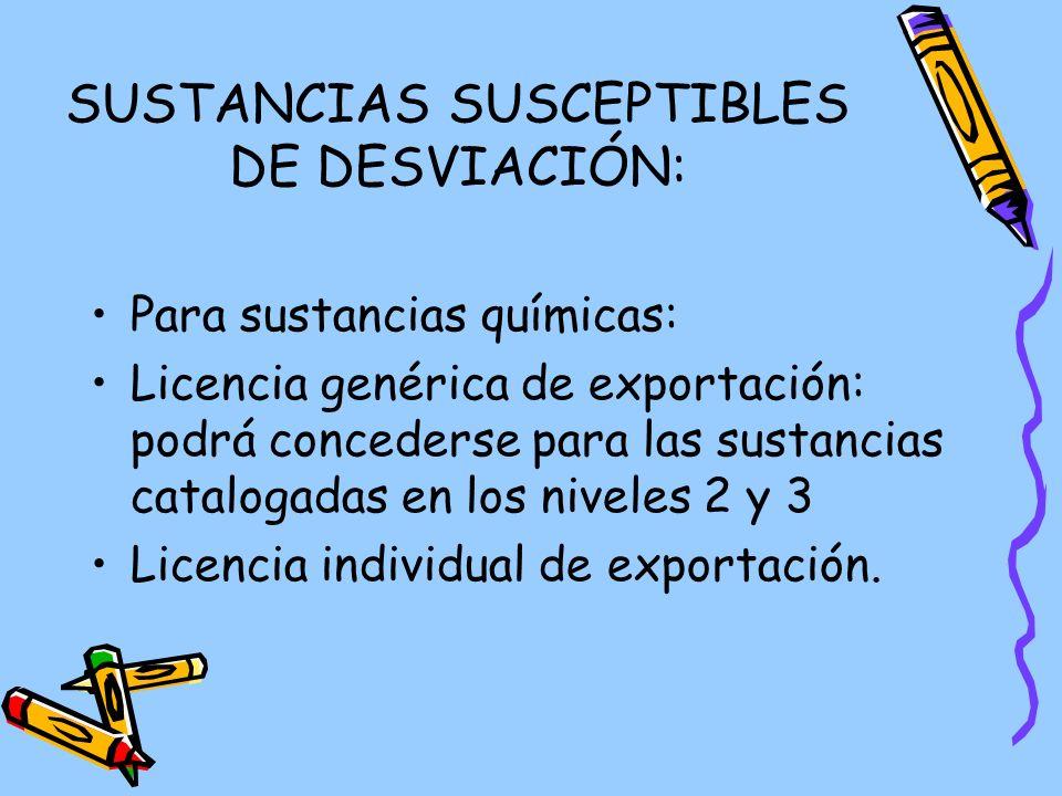 SUSTANCIAS SUSCEPTIBLES DE DESVIACIÓN:
