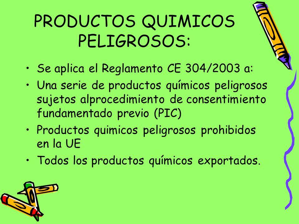 PRODUCTOS QUIMICOS PELIGROSOS:
