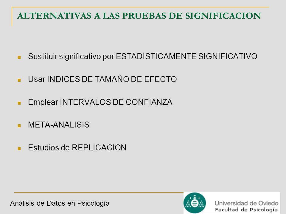 ALTERNATIVAS A LAS PRUEBAS DE SIGNIFICACION