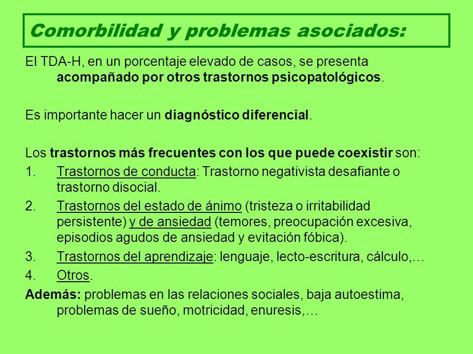 Comorbilidad y problemas asociados: