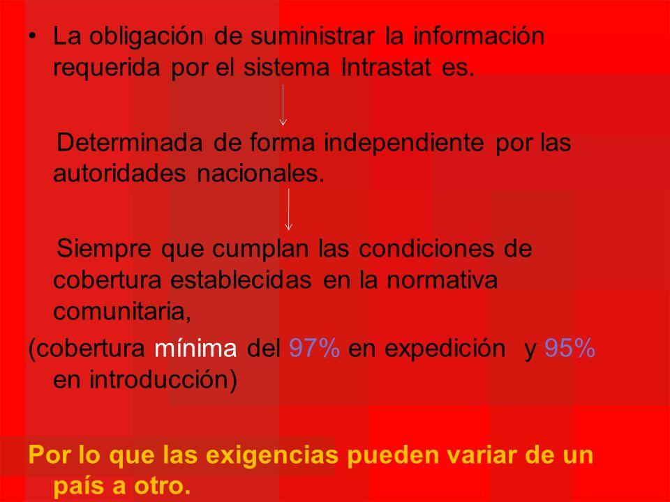 La obligación de suministrar la información requerida por el sistema Intrastat es.