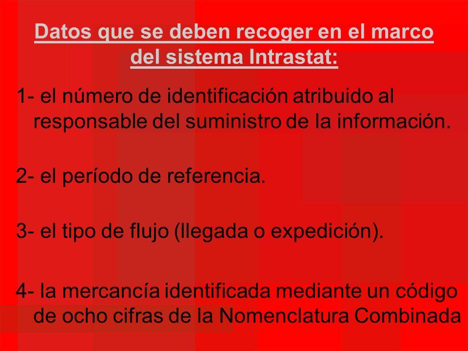 Datos que se deben recoger en el marco del sistema Intrastat: