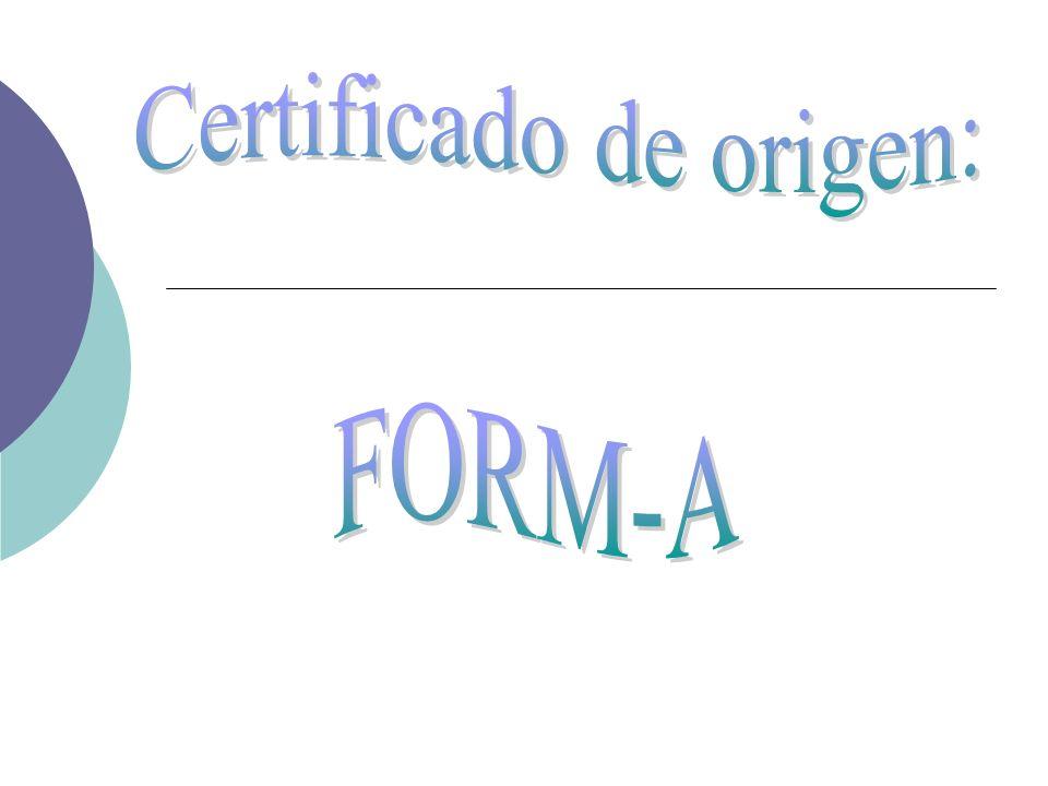 Certificado de origen: