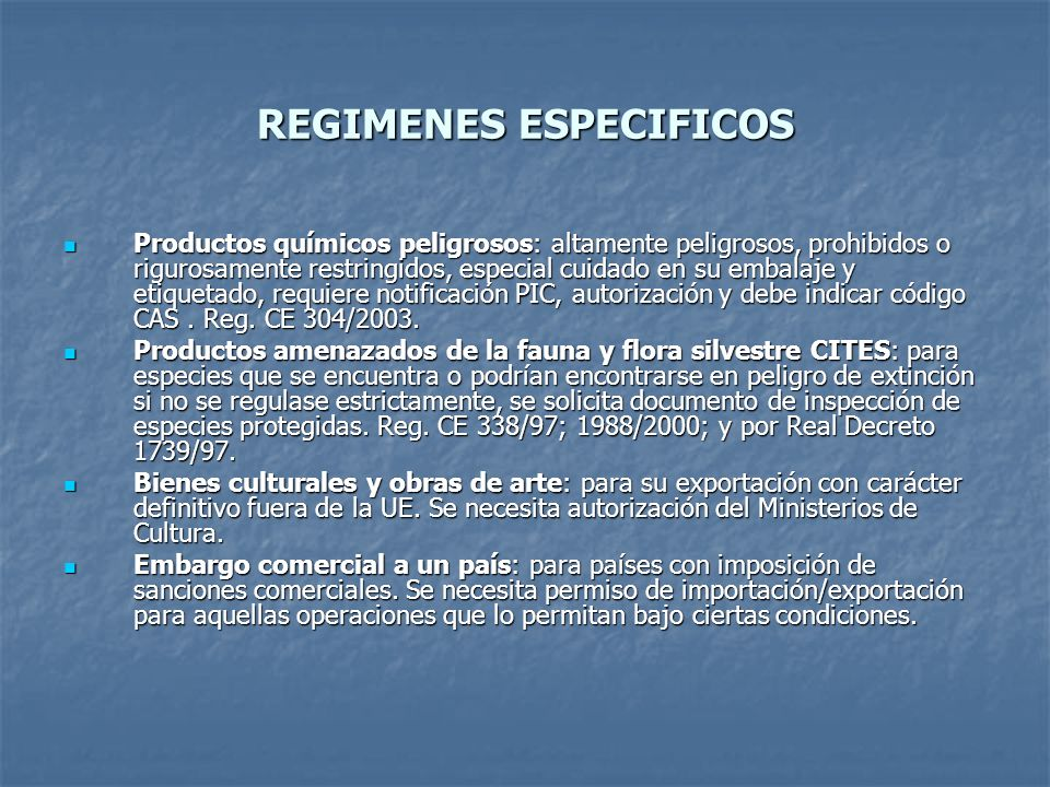 REGIMENES ESPECIFICOS