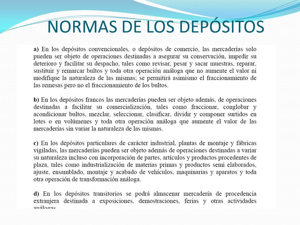 NORMAS DE LOS DEPÓSITOS