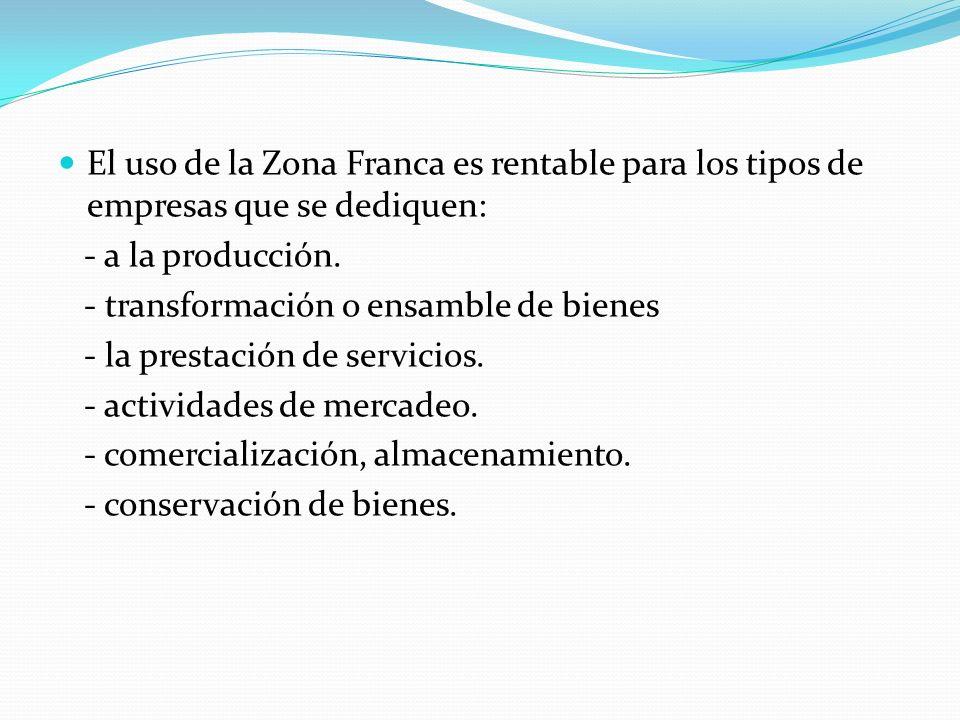 El uso de la Zona Franca es rentable para los tipos de empresas que se dediquen: