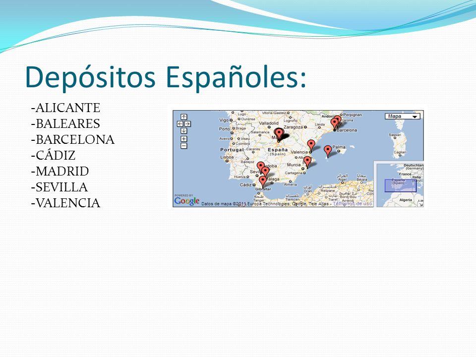 Depósitos Españoles: -ALICANTE -BALEARES -BARCELONA -CÁDIZ -MADRID