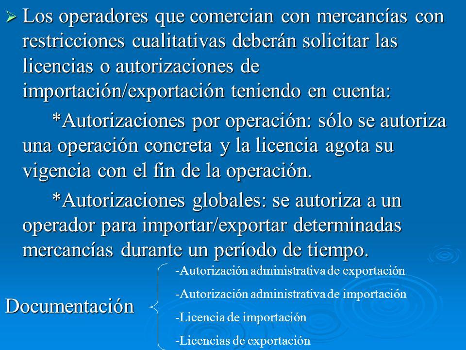 Los operadores que comercian con mercancías con restricciones cualitativas deberán solicitar las licencias o autorizaciones de importación/exportación teniendo en cuenta: