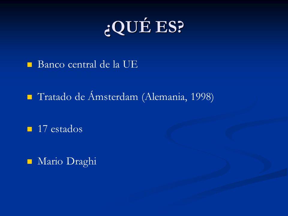 ¿QUÉ ES Banco central de la UE Tratado de Ámsterdam (Alemania, 1998)