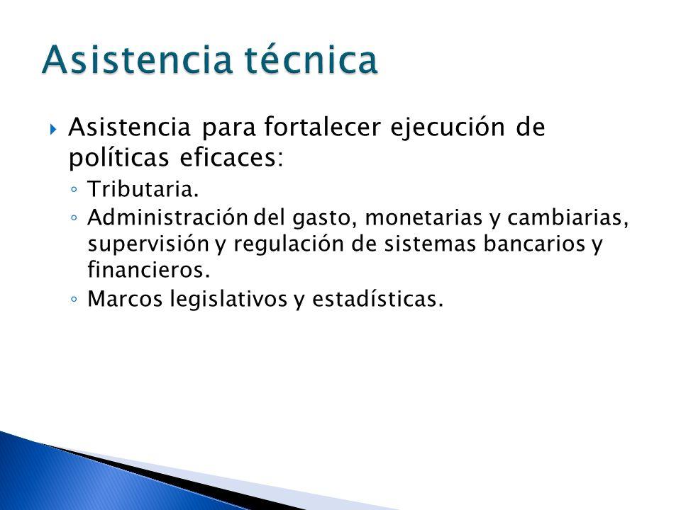 Asistencia técnica Asistencia para fortalecer ejecución de políticas eficaces: Tributaria.
