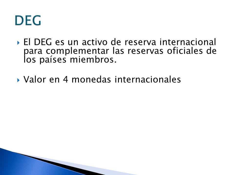 DEGEl DEG es un activo de reserva internacional para complementar las reservas oficiales de los países miembros.