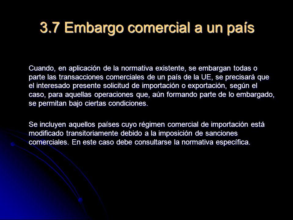 3.7 Embargo comercial a un país
