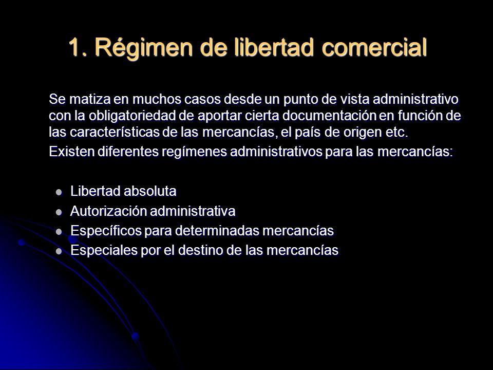 1. Régimen de libertad comercial