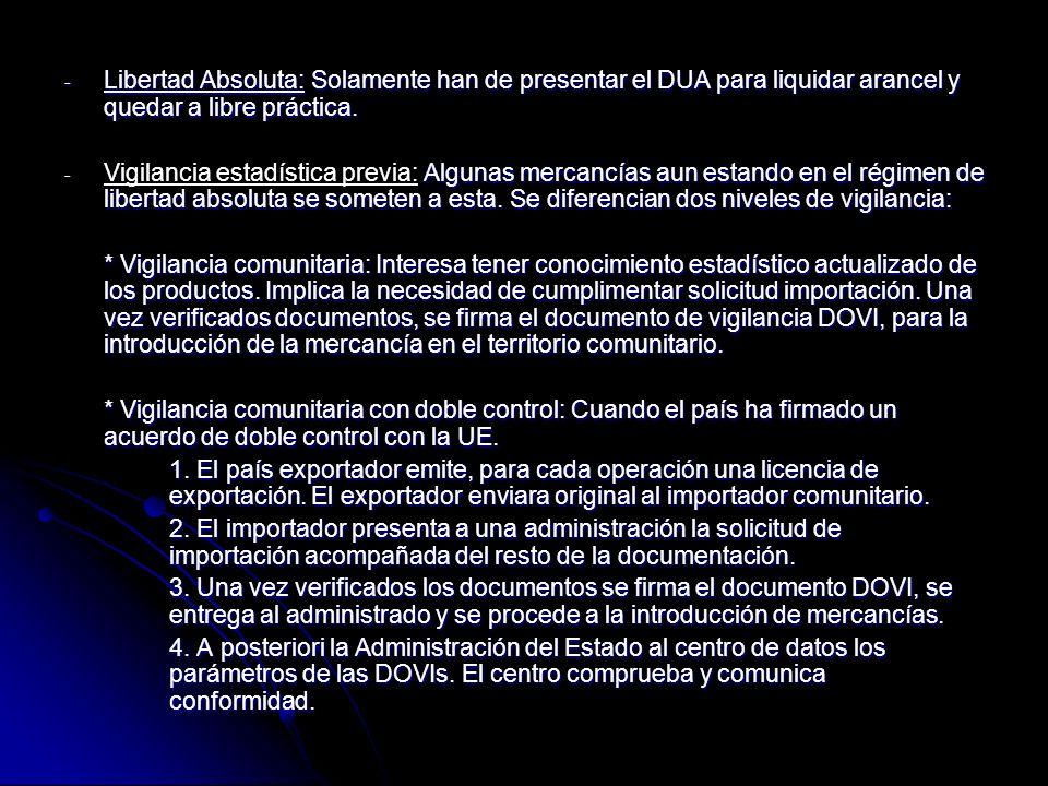 Libertad Absoluta: Solamente han de presentar el DUA para liquidar arancel y quedar a libre práctica.