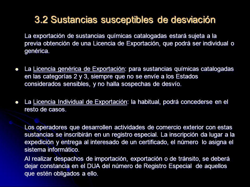3.2 Sustancias susceptibles de desviación